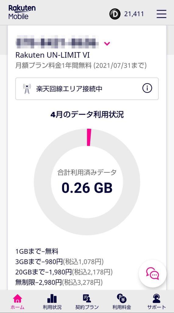 Rakuten Linkで楽天モバイルデータ使用量を確認する方法